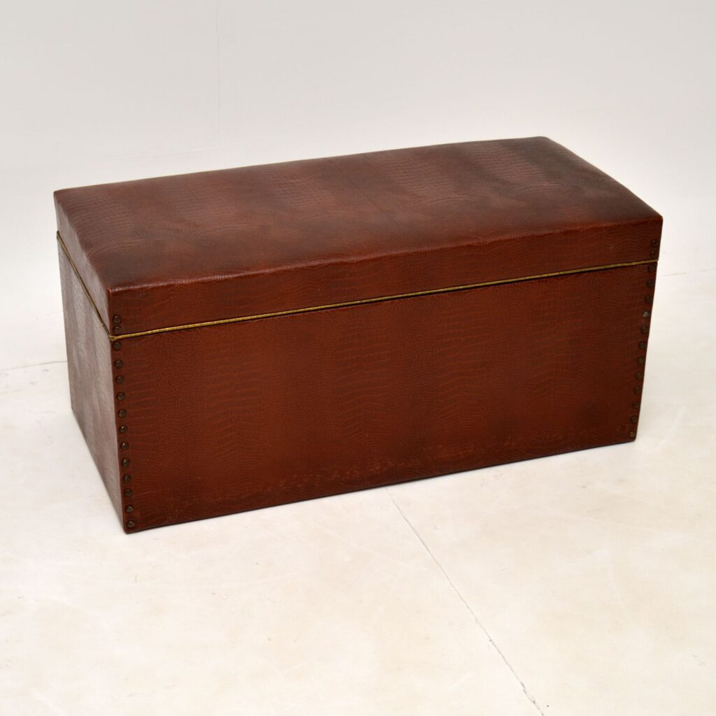 antique vintage art deco crocodile skin faux leather trunk blanket chest
