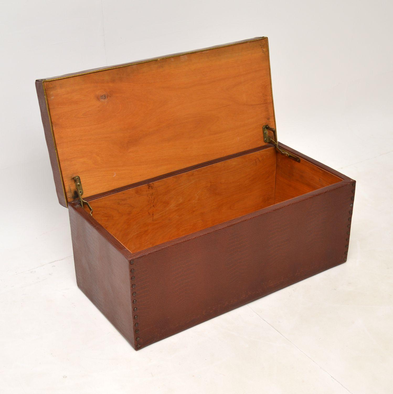 antique vintage art deco crocodile skin faux leather trunk blanket chest