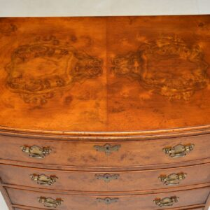 antique georgian burr walnut bow front chest of drawers