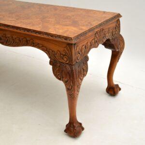 antique burr walnut long john coffee table