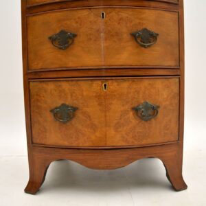 antique burr walnut slim bow front chest of drawers
