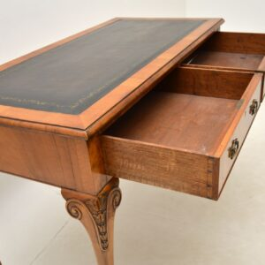 antique walnut leather desk writing table