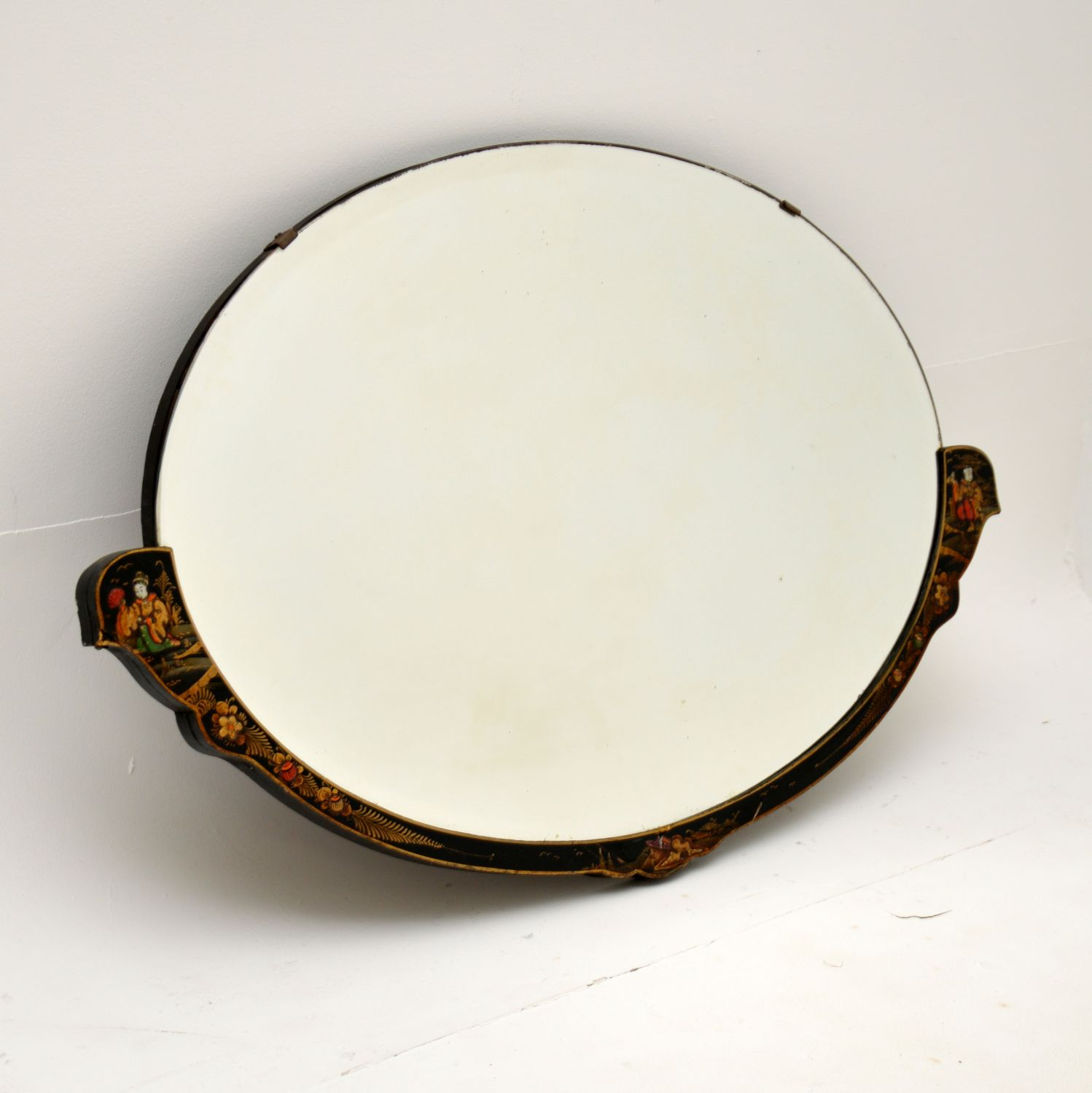antique lacquered chinoiserie mirror
