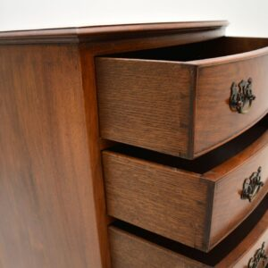 antique edwardian bow front burr walnut chest of drawers