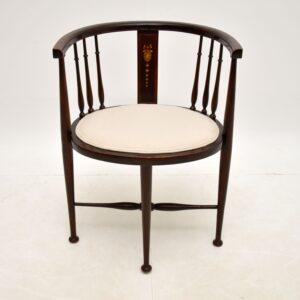 antique edwardian inlaid mahogany side corner tub chair