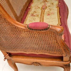 antique french carved walnut caned sofa