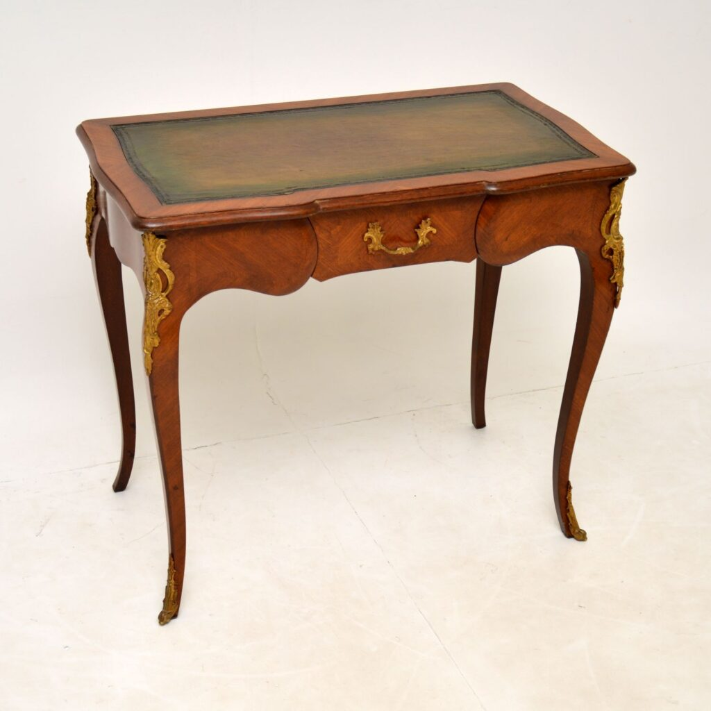 antique french inlaid leather top writing table desk