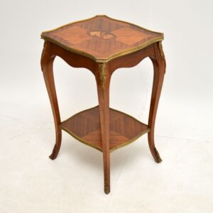 antique french inlaid king wood marquetry side lamp end table