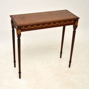 antique french mahogany brass leather side console table