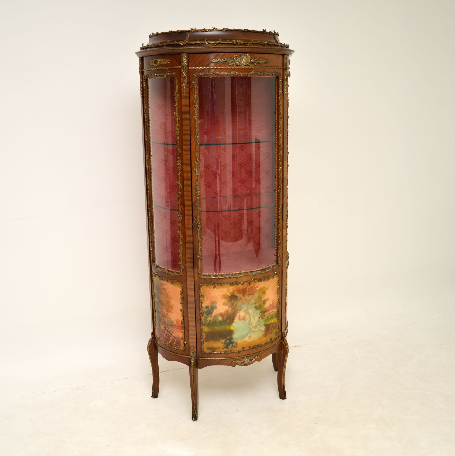 antique french painted ormolu mounted vitrine display cabinet