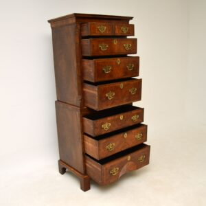 antique georgian period walnut chest on chest of drawers