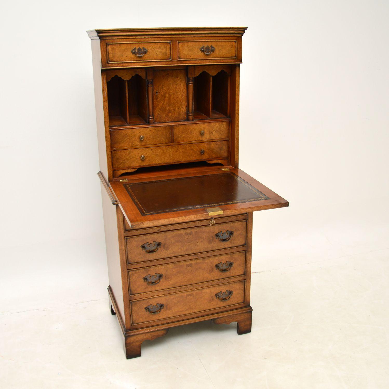 antique bur walnut writing bureau desk cabinet chest