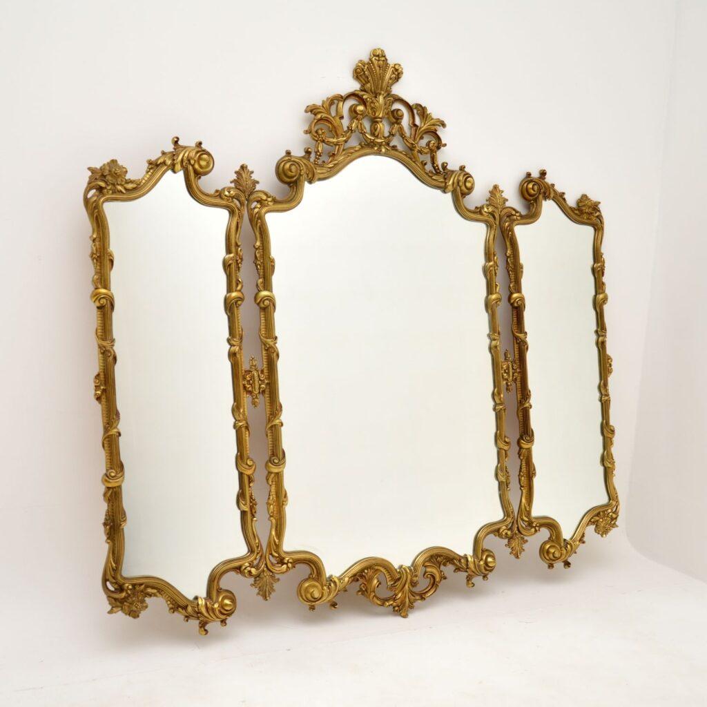 antique french rococo brass triptych mirror
