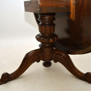 Antique Italian Marquetry Top Walnut Dining Table