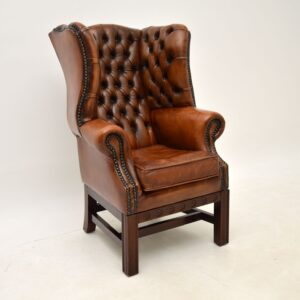 antique leather child size wing back armchair