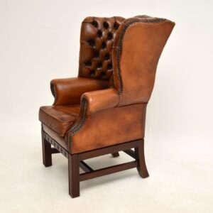 Child Size Antique Leather & Mahogany Wing Back Armchair