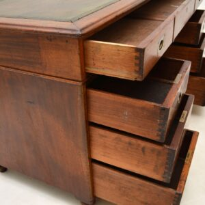 antique victorian mahogany leather military campaign desk