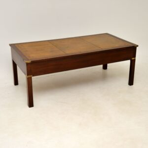 Antique Military Campaign Style Mahogany & Leather Coffee Table