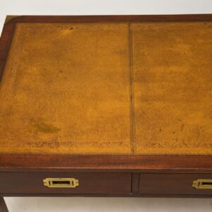 antique military campaign mahogany leather coffee table