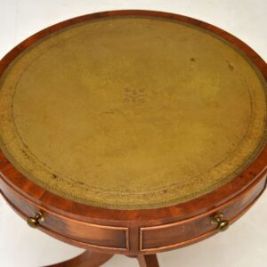 antique yew wood leather regency drum table