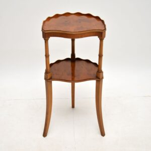 antique regency yew wood two tier side table