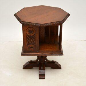 antique victorian arts and crafts oak revolving bookcase