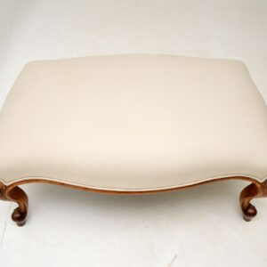 Large Antique Victorian Solid Walnut Stool