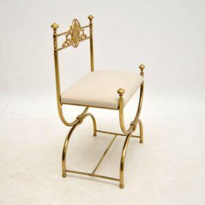 antique brass mahogany french empire stool