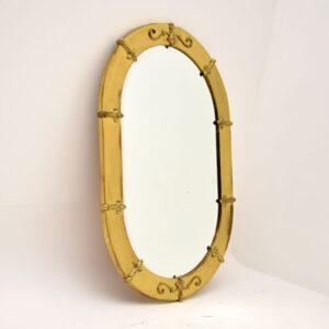 antique vintage french brass mirror