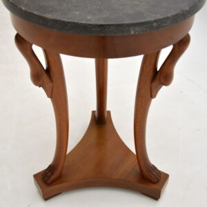 antique walnut neoclassical marble top side table
