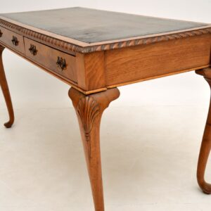 Antique Walnut Leather Top Writing Table / Desk