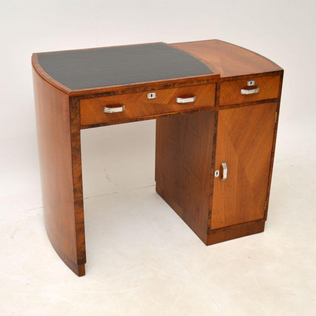 art deco burr walnut leather desk