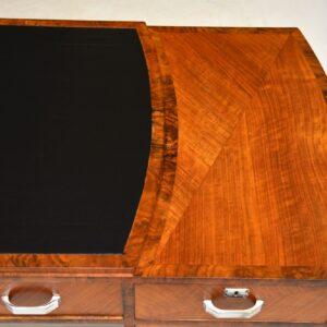 Art Deco Burr Walnut & Leather Desk