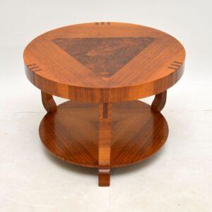 art deco figured walnut coffee table