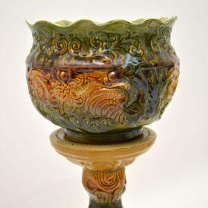 pair of antique vintage china porcelain ceramic plant pots vase stands