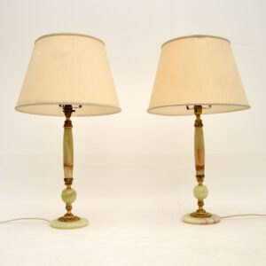 pair of antique french marble onyx table lamps