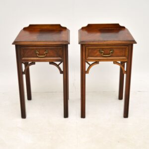Pair of Antique Chippendale Style Mahogany Bedside Tables