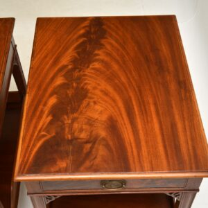 pair of antique mahogany bedside side lamp end tables