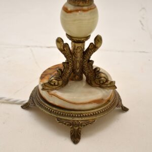 pair of antique french brass onyx table lamps
