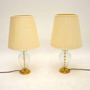 pair of retro vintage glass brass antique table lamps