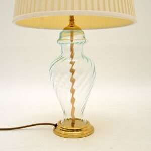 Pair of Vintage Brass & Glass Table Lamps