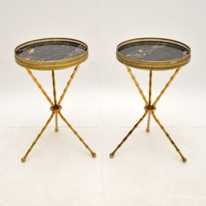 pair retro vintage antique bamboo brass marble side tables