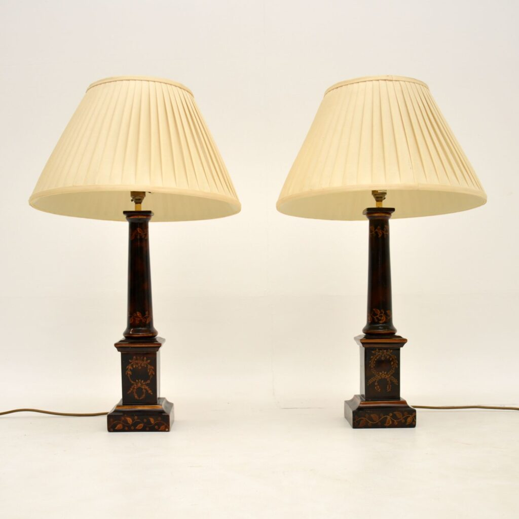 pair of antique vintage neoclassical table lamps