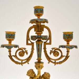 pair of antique victorian gilt metal cloisonne candelabra