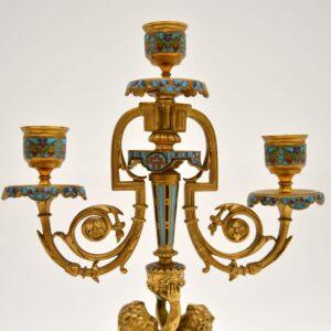 Pair of Antique French Victorian Gilt Bronze Champlevé Candelabra