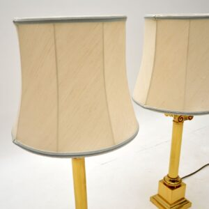 Pair of Large Antique Neoclassical Style Brass Table Lamps