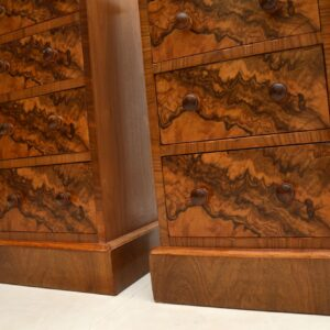 pair of antique victorian burr walnut bedside chests cabinets