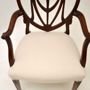 Set of 8 Antique Mahogany Sheraton Style Dining Chairs