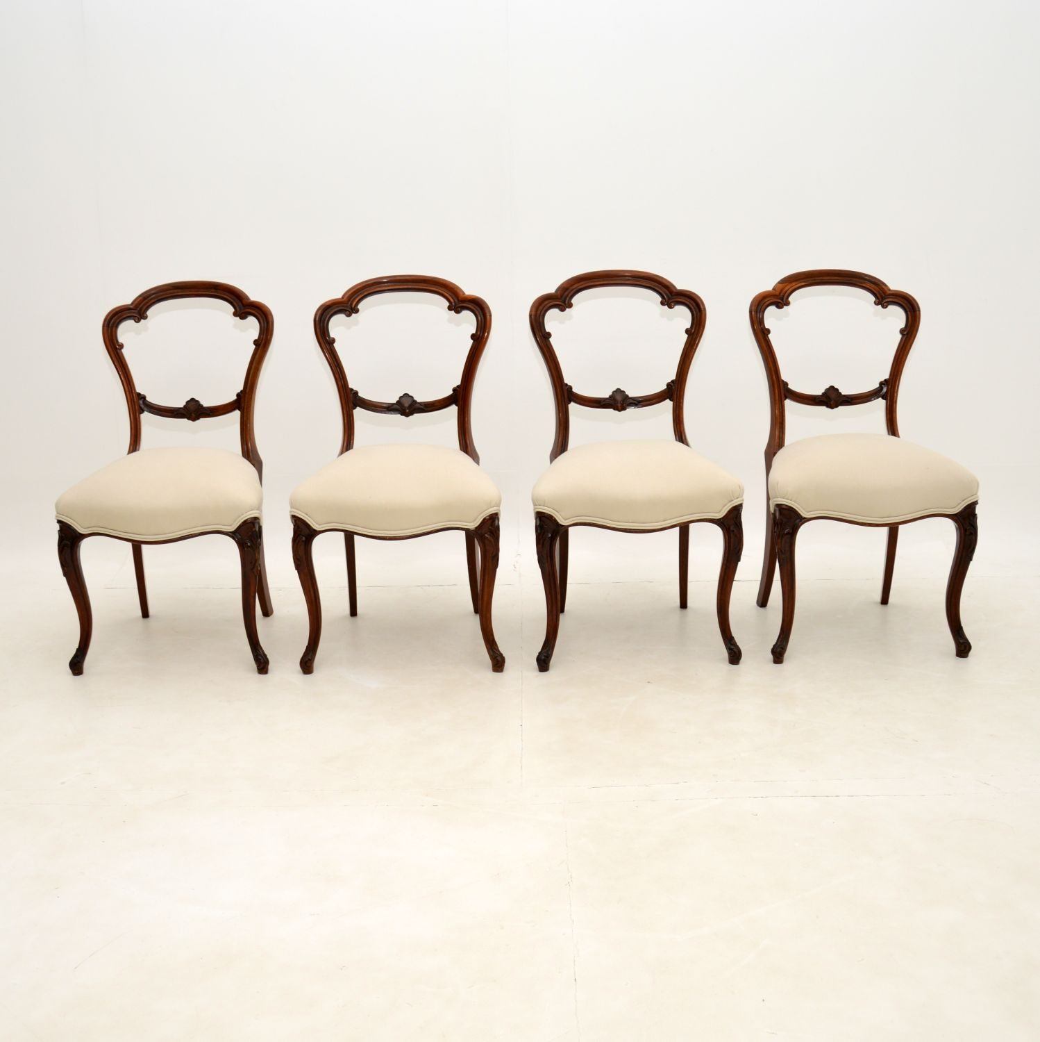 set of four antique victorian rosewood balloon back dining chairs
