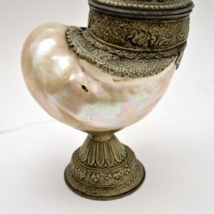 antique vintage anglo indian nautilus shell cup